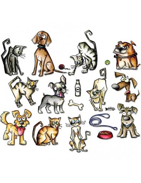 Tim Holtz Sizzix Framelits Mini Dies 45, Crazy Cats & Dogs