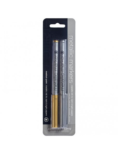 American Crafts Metallic Markers Medium Point 2, Oro Y Plata