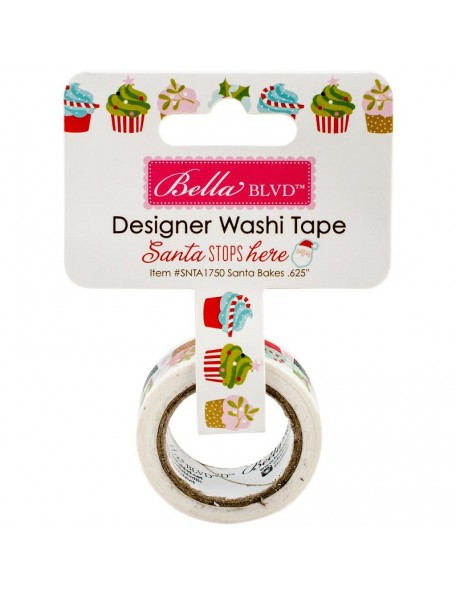 "Bella BLVD Santa Stops Here Washi Tape .625""X30', Santa Bakes"