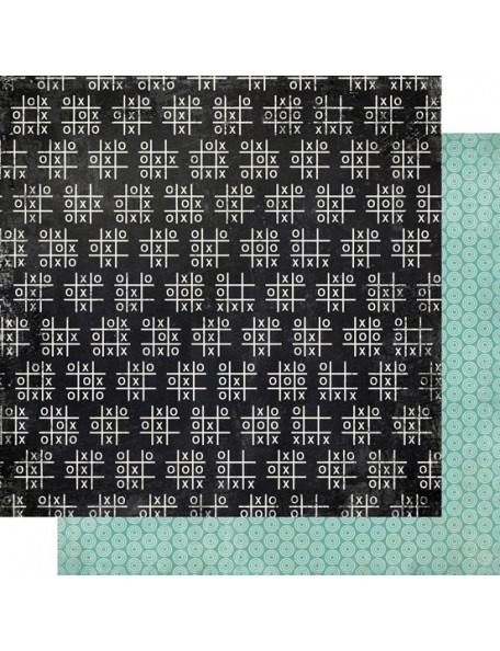 "Carta Bella - Well Played Cardstock de doble cara 12""X12"", Tic Tac Toe"
