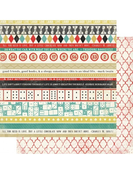 "Carta Bella - Well Played Cardstock de doble cara 12""X12"", Border Strips"