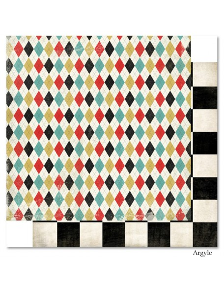 "Carta Bella Well Played Cardstock de doble cara 12""X12"", Argyle"