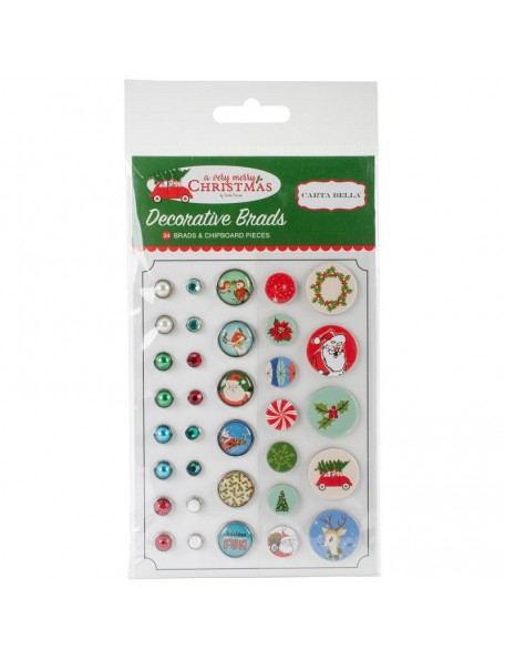 Carta Bella A Very Merry Christmas Decorative Brads 34