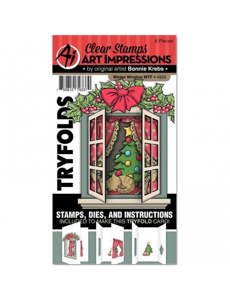 Art Impressions Mini TryFolds Stamp & Die Set, Winter Window