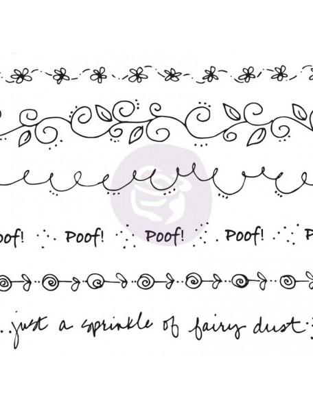 "Prima Marketing Julie Nutting Mixed Media Cling Rubber Stamps, Borde de Flores Word 5.5""X9.25"""