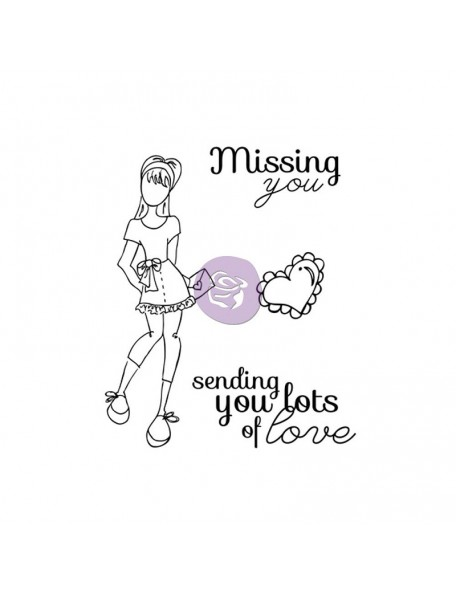 "Prima Marketing Julie Nutting Mixed Media Cling Rubber Stamps, Lots Of Love Set 4""X6"""