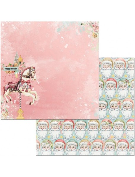 """Bobounny Carousel Christmas Cardstock de doble cara 12""""X12"""" , Carousel Christmas"""