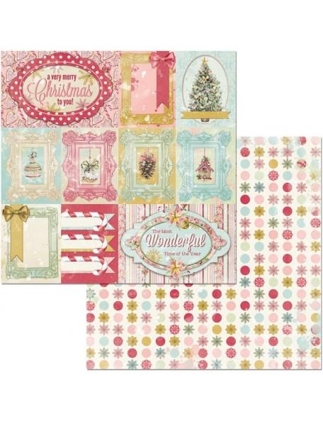 """Bobunny Carousel Christmas Cardstock de doble cara 12""""x12"""", Carousel Christmas"""