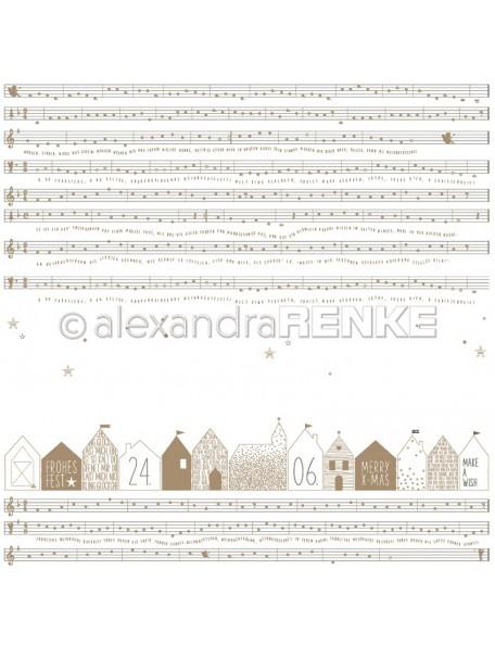 Alexandra Renke Cardstock de una cara 30,5x30,5 cm, Notas con Casas/Noten mit Häuser