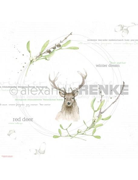Alexandra Renke Cardstock de una cara 30,5x30,5 cm, Ciervo/Aquarell Hirsch