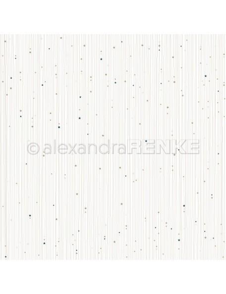 Alexandra Renke Cardstock de una cara 30,5x30,5 cm, Rayas de Estrellas Doradas con Azul/Goldene Sternenstreifen mit blau