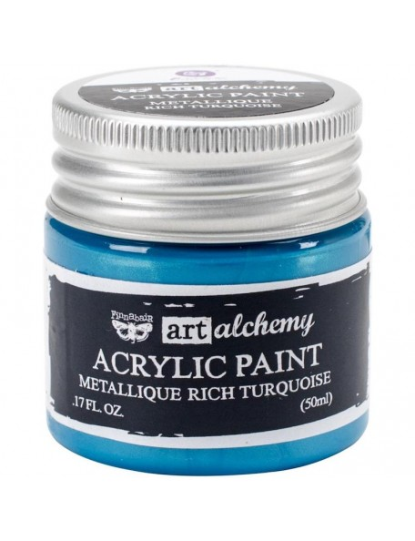 Prima Marketing Finnabair Art Alchemy Acrylic Paint 1.7 Fluid Ounces, Metallique Rich Turquoise