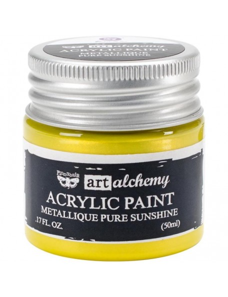 Prima Marketing Finnabair Art Alchemy Acrylic Paint 1.7 Fluid Ounces, Metallique Pure Sunshine