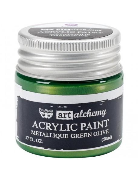 Prima Marketing Finnabair Art Alchemy Acrylic Paint 1.7 Fluid Ounces, Metallique Green Olive