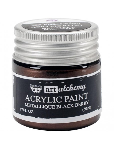 Prima Marketing Finnabair Art Alchemy Acrylic Paint 1.7 Fluid Ounces, Metallique Black Berry