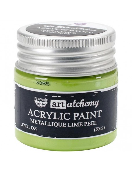 Prima Marketing Finnabair Art Alchemy Acrylic Paint 1.7 Fluid Ounces, Metallique Lime Peel