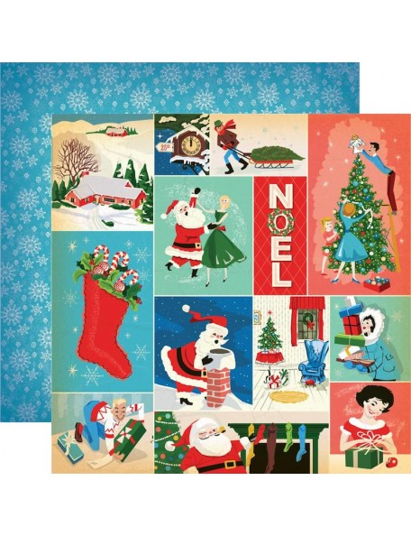 "Carta Bella A Very Merry Christmas Cardstock de doble cara 12""X12"", Christmas Festivities Journaling Cards"
