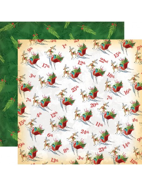 "Carta Bella A Very Merry Christmas Cardstock de doble cara 12""X12"", Christmas Countdown"