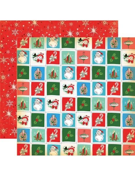 "Carta Bella A Very Merry Christmas Cardstock de doble cara 12""X12"", Christmas Squares"