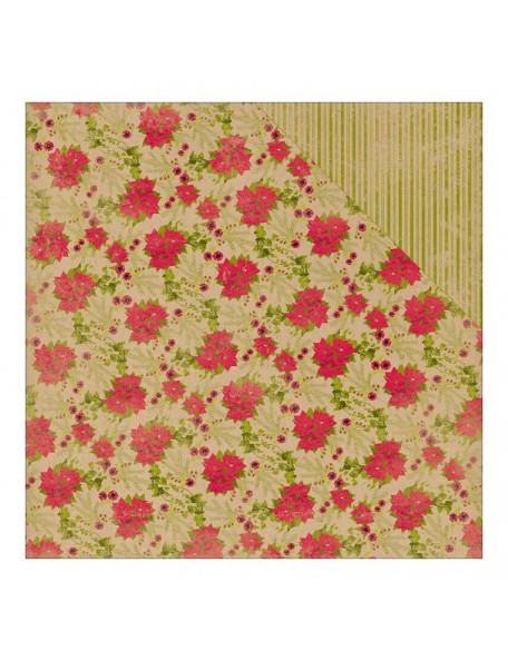 "Authentique Tidings Cardstock de doble cara 12""X12""-7, Poinsettia Holly/Green Kraft Stripe"
