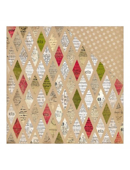 "Authentique Paper Tidings Cardstock de doble cara 12""X12"", No.9, Diamond Quilt/White & Kraft Stars"