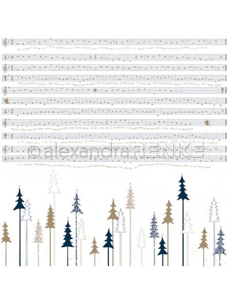 Alexandra Renke Cardstock de una cara 30,5 x 30,5 cm, Bosque de Abetos Negro/Tannenwald schwarz