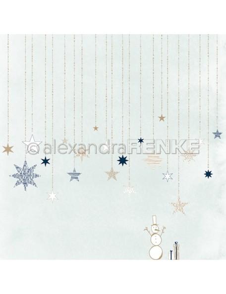 Alexandra Renke Cardstock de una cara 30,5 x 30,5 cm, Estrellas En Azul Hielo/Sterne auf Eisblau