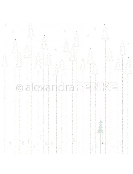 Alexandra Renke Cardstock de una cara 30,5 x 30,5 cm, Bosque dorado/Goldener Typotannenwald