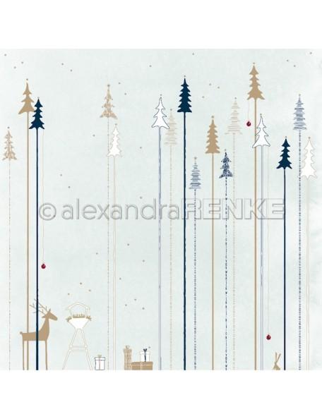 Alexandra Renke Cardstock de una cara 30,5 x 30,5 cm, Bosque de abeto azul hielo/Tannenwald auf Eisblau