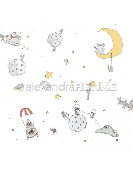 Alexandra Renke Cardstock de una cara 30,5 x 30,5 cm, Navidad Intergaláctica/Intergalaktische Weihnachten
