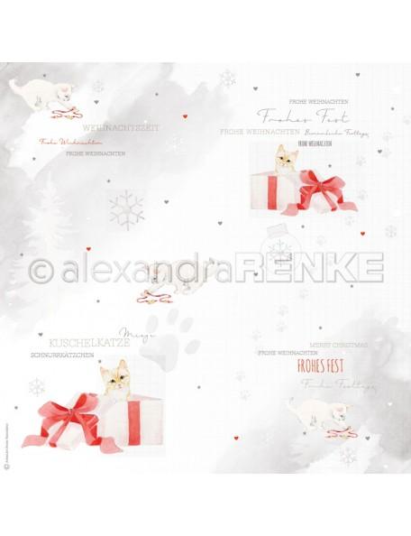 Alexandra Renke Cardstock de una cara 30,5 x 30,5 cm, Gatitos con Regalo/Geschenk Katze