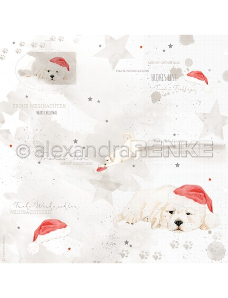 Alexandra Renke Cardstock de una cara 30,5 x 30,5 cm, Perritos con Gorro Navideño/Weihnachtshund mit Mütze