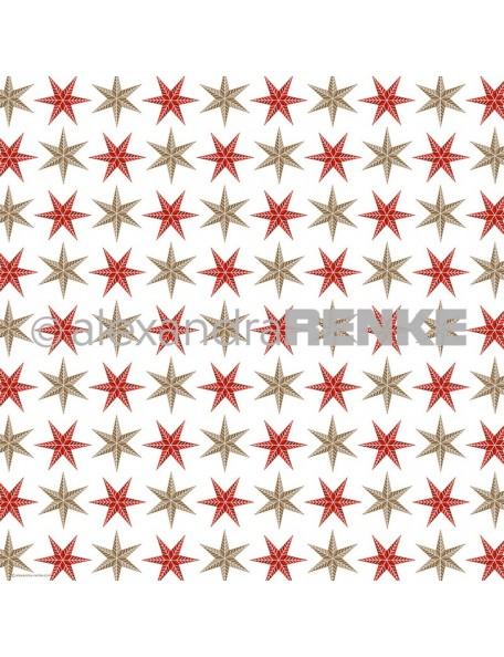 Alexandra Renke Cardstock de una cara 30,5x30,5 cm, Estrellas Oro y Rojo/Sterne Gold-Rot