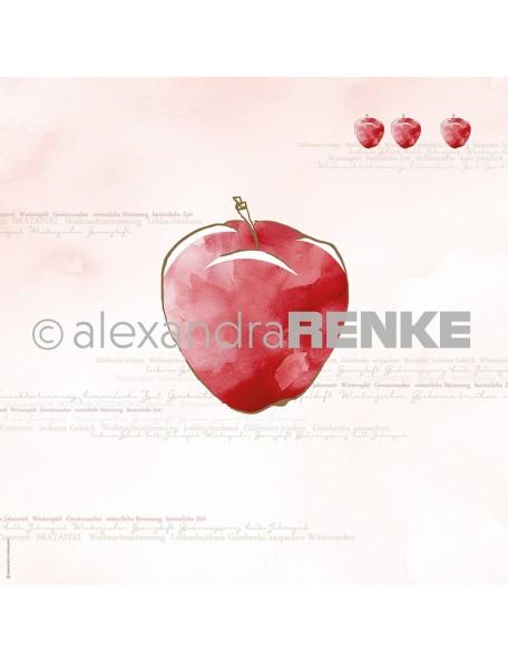 Alexandra Renke Cardstock de una cara 30,5 x 30,5 cm, Manzana Roja Oro/Roter Apfel gold