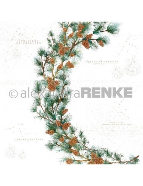 Alexandra Renke Cardstock de una cara 30,5 x 30,5 cm, Corona de Abeto/Tannenzweigkranz