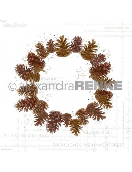 Alexandra Renke Cardstock de una cara 30,5x30,5 cm , Guirnalda de pino/Kiefernzapfenkranz