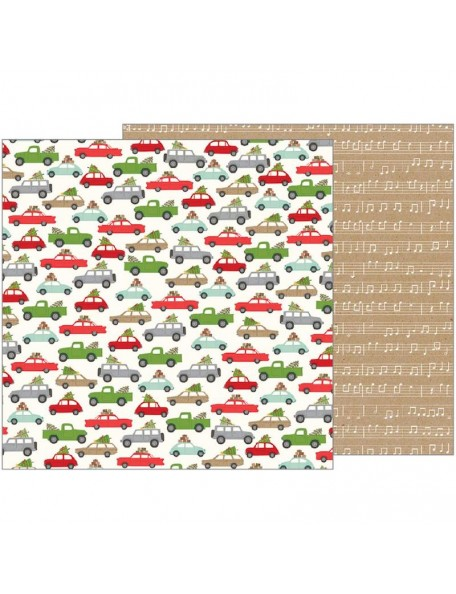"Pebbles Merry Merry Cardstock de doble cara 12""X12"", Over The River"