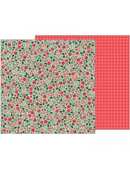 "Pebbles Merry Merry Candy Cane Stripes 12""x12"", Christmas Floral"