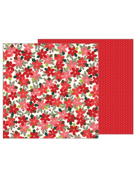 "Pebbles Merry Merry Candy Cane Stripes 12""x12"", Poinsettia Blossoms"