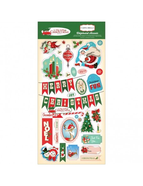 "Carta Bella A Very Merry Christmas Chipboard Accents 6""X13"""