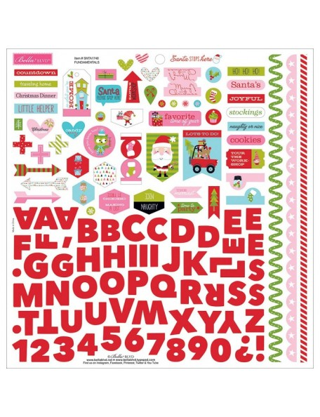 "Bella BLVD Santa Stops Here Cardstock Stickers 12""X12"", Fundamentals"