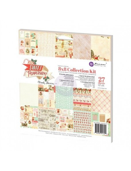 "Prima Marketing Collection Kit cardstock de doble cara 8""X8"", Sweet Peppermint"