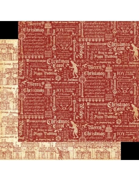 """Graphic 45 A Christmas Carol Cardstock de doble cara 12""""X12"""", Bah Humbug"""