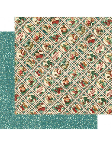 "Graphic 45 A Christmas Carol Cardstock de doble cara 12""X12"", Yuletide Greetings"