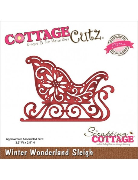 "Cottage Cutz Troquel Elites, Winter Wonderland Sleigh 3.6""X2.5"""