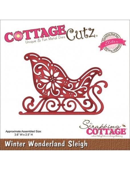 """Cottage Cutz Elites Die, Winter Wonderland Sleigh 3.6""""X2.5"""""""