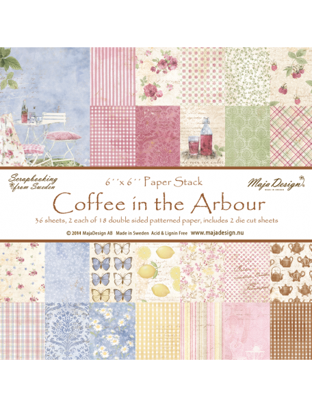 "Maja Design Coffee in the Arbour Paper Stack de doble cara 6""X6"""