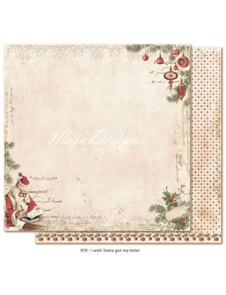 """Maja Design I Wish Cardstock de doble cara 12""""x12"""", Santa got my letter"""