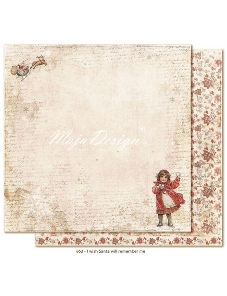 "Maja Design I Wish Cardstock de doble cara 12""x12"", Santa will remember me"