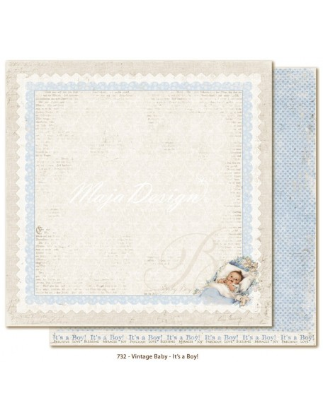 "Maja Design Vintage Baby Cardstock de doble cara 12""x12"", It´s a boy"